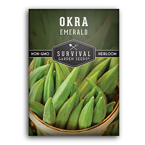 Survival Garden Seeds - Emerald Okra Seed for Planting - Packet with...