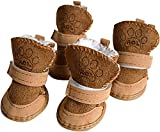 URBEST Dog Boots, Dog Shoes for Small Dogs, Dog Winter Booties (5#, Brown)