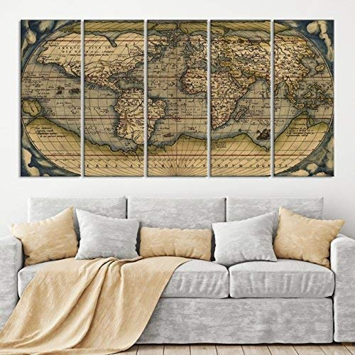 Canvas Map Of The World Amazon.com: 5 Panel Antique World Map Canvas Print, Old World Map