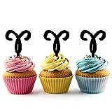 TA0667 Zodiac Aries Silhouette Party Wedding Birthday Acrylic Cupcake Toppers Decor 10 pcs