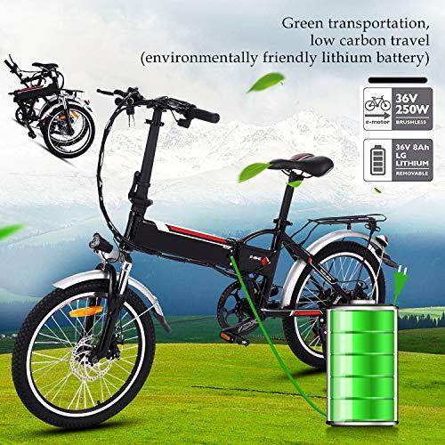 Bunao Bicicleta Eléctrica Plegable con Batería de Litio(36V 8Ah) Des