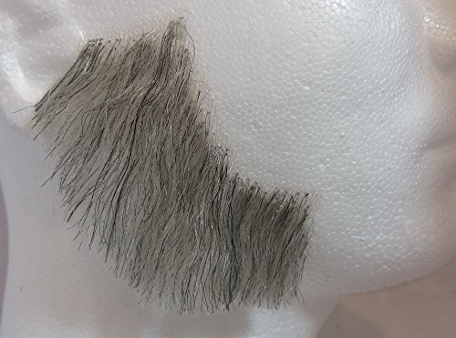 Sideburns LIGHT GREY - 100% Human Hair no. 2019 - REALISTIC! - Perfect for Theater - Reusable!