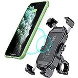 GOURIXIN Motocicleta Inalámbrico Qi / QC3.0 Soporte para teléfono USB Cargador Manillar/Espejo retrovisor Soporte para teléfono móvil con Interruptor Impermeable para teléfonos de 3.5-6.8 Pulgadas