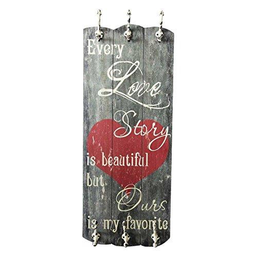 UMOI Wandgarderobe im Vintagestil aus Massivholz mit 6 massiven Haken Flurgarderobe im Shabby Chic Altholz Stil 100x40cm Neues Modell 2019 (Love Story)