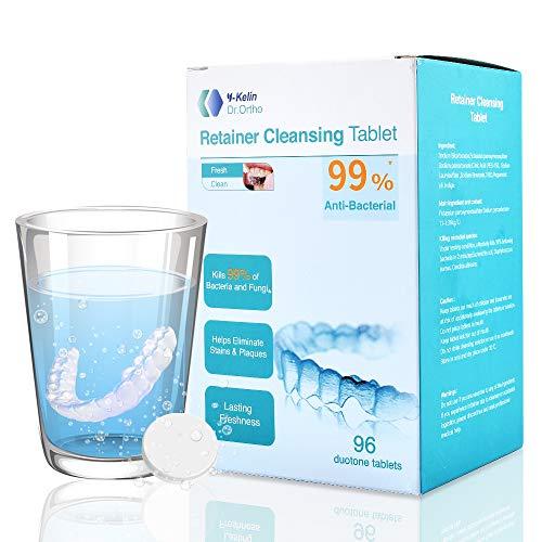 Y-kelin Tableta de limpieza de retenedor ortodóntico Tableta de 96 (96 pestañas)
