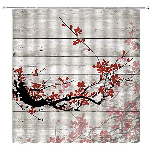 Plum Blossom Shower Curtain Rustic Wooden Board Red Cherry Blossom Asian Japanese Sakura Traditional Chinese Painting Farmhouse Country Flower Plant Fabric Bathroom Curtain Set 70x70 Inch with Hooks