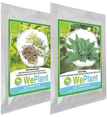 BIO/ORGANICO Hinojo común & Salvia - Semillas ecológicas de plantas naturales/Interior &...