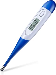HOMCA Digital Medical Thermometer for Adult - Accurate Fast Read Oral Thermometer Fever Indicator Rectal Thermometer with Flexible Waterproof Tip