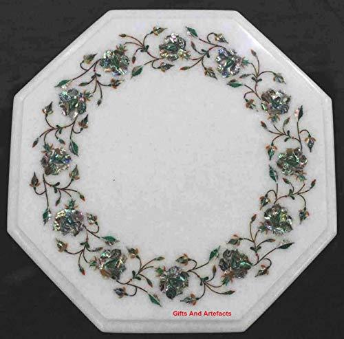 Cadeaus en artefacten achthoekige vorm marmer bank tafelblad bed bijzettafelblad met behulp van glanzende abalon shell ingelegd werk kan worden gebruikt in kantoor, tuintafel, 12 inch