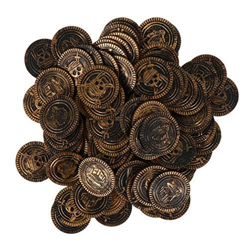 Tomaibaby 100 Piezas Monedas de Pirata Monedas del Tesoro de Bronce Réplica de Doblón Español Dinero Realista Joyas de Pirata Paquete de Joyas a Favor de Fiesta para Juegos de Mesa Cosplay