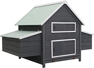 vidaXL Chicken Coop Wood Weather Resistant Pull Out Tray Small Animal Living Habitat Hen House Egg Box Grey
