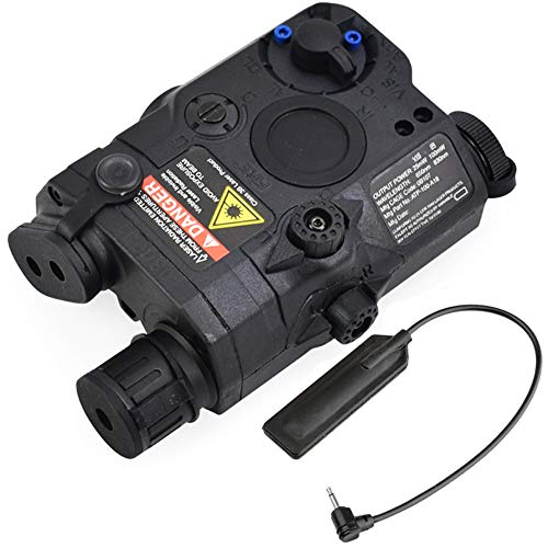 ActionUnion Airsoft Tactical PEQ-15 IR Laser Battery Box LED White Flashlight + Red Laser Sight with Lenses Upgrade Version for AEG GBB CQB (Black)