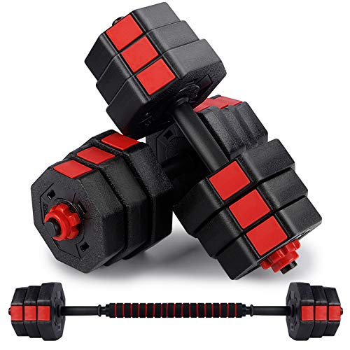 wolfyok Fitness Dumbbells Set, Adjustable Weight to 44Lbs, Home Fitness Equipment for Men and Women Gym Work Out Exercise Training with Connecting Rod Used as Barbells(Pair) (Black)