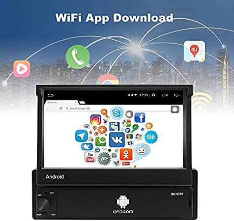Backup Camera Podofo Universal 1 Din Car Radio 7 inch Retractable ...