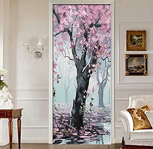 Türaufkleber Wandbild Pink Woods Blumen Landschaft Türaufkleber Wandbild Wohnzimmer Tür PVC Selbstklebend Wasserdicht 3D Wallpaper Home Door Decals