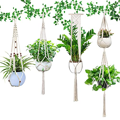 Makramee Blumenampel 4er Set, Boho Balkon Deko, Hängepflanzgefäße Hängeampel Baumwollseil- Blumentopf Pflanzen Halter , für Decke, Balkon, Wand, Inneneinrichtung für den Außenbereich(beige)