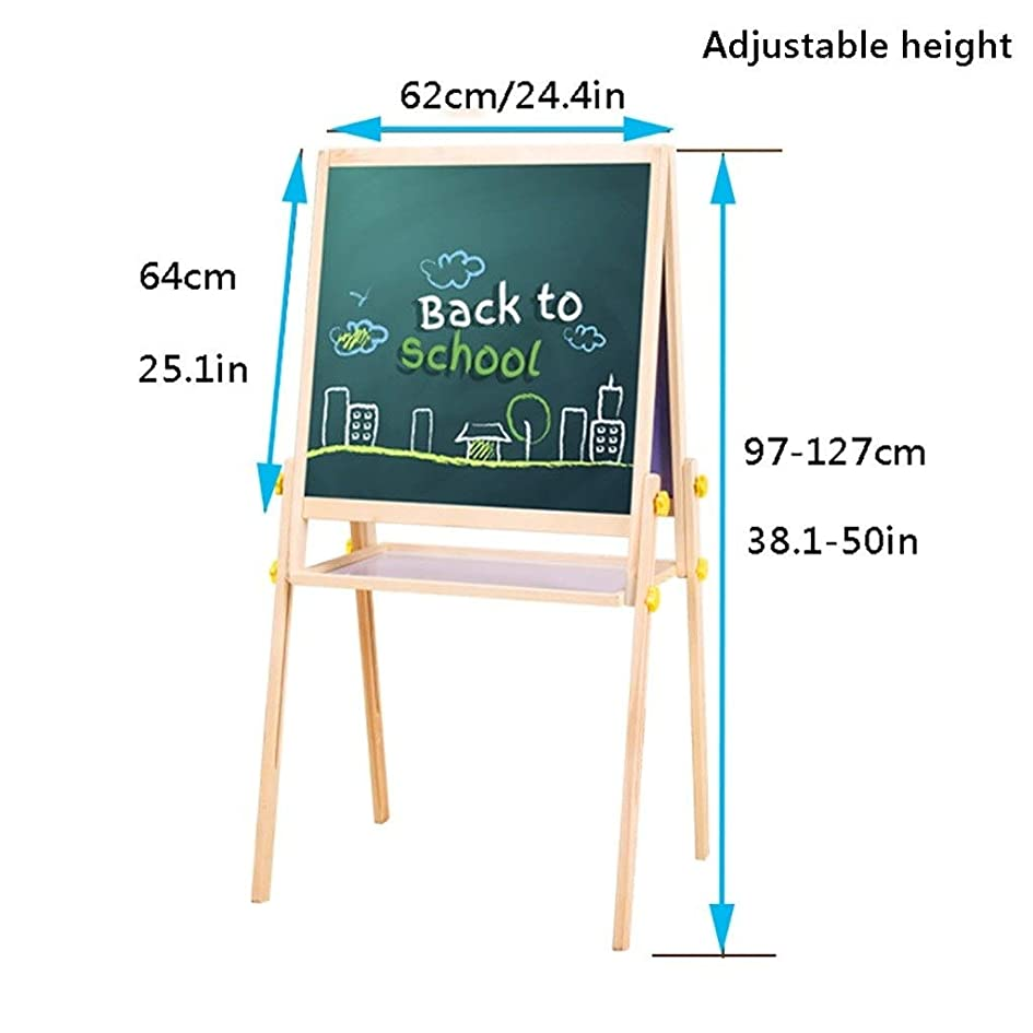 失業企業インスタンス子供のアートイーゼル 木製キッズイーゼル、高さ調節は、ダブルは早期教育子供のイーゼルのために、磁気ブラックとホワイトボードを両面 (Size : 24.4*25.1in)