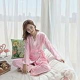 Handaxian Pijama de Mujer Pijama de Primavera y otoño Estampado de Seda Dulce Damas niñas Pijama de Seda Set 4 XXL