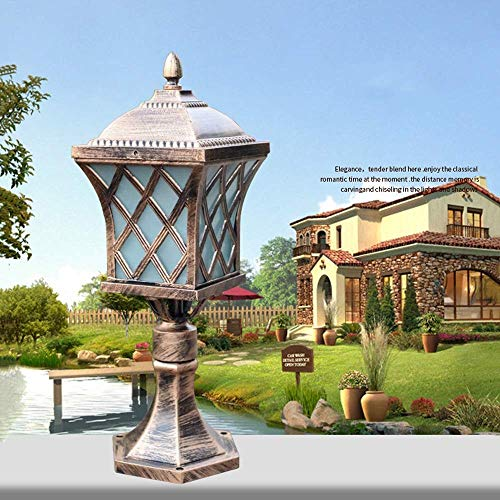 XAJGW Außen Aluminium Landschaft Beleuchtung Leuchte Europäischen Vintage Rustikalen Land Pillar Pole Lampe für Garten Eingangssäulen E27 Sockel (Farbe: Bronze)
