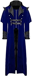 RkBaoye Men Renaissance Long Maxi Pu Leather Patchwork Trench Coat