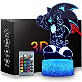 3D Sonic Toys Night Light, Anime Table Lamp with Remote Control Kids Bedroom Decoration, Creative Lighting for Kids and The Hedgehog Fans
