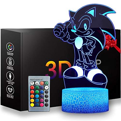 Luz nocturna 3D erizo, lámpara de mesa de anime con mando a distancia para la decoración del dormitorio de los niños, iluminación creativa para los niños y los fans del erizo