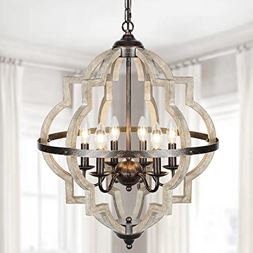 Eco-Homely Farmhouse Chandelier for Dinning Room - 6 Lights Rustic Orb Chandelier Light Fixture Candle Wood Style Geometric Chandelier for Foyer Entryway, Island, Laundry