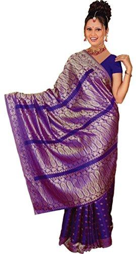 Trendofindia Indischer Bollywood Fashion Sari Stoff Damenkostüm Kleid Dunkel Lila CA107