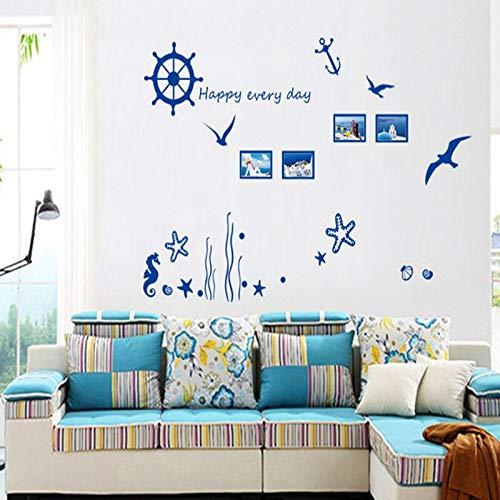 BLOUR Algas de Coral, Estrella de mar, Gaviota, Marco de Imagen Fresco con Pegatinas de Pared para Sala de Estar, Estudio, Barra de té, Adhesivo de Pared para Barra de salón