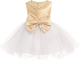 LUKEEXIN Mesh Beads Big Bow Princess Pageant Dresses for Baby Girls