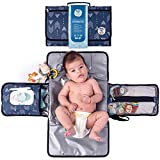 Portable Diaper Changing Pad by Meraki Baby | Waterproof Station Mat Ideal Travel Kit | Easy to Clean | Large Storage Pockets for Wipes Creams Essentials | Built-in Cushion Pillow | Toy Loop |BPA Free