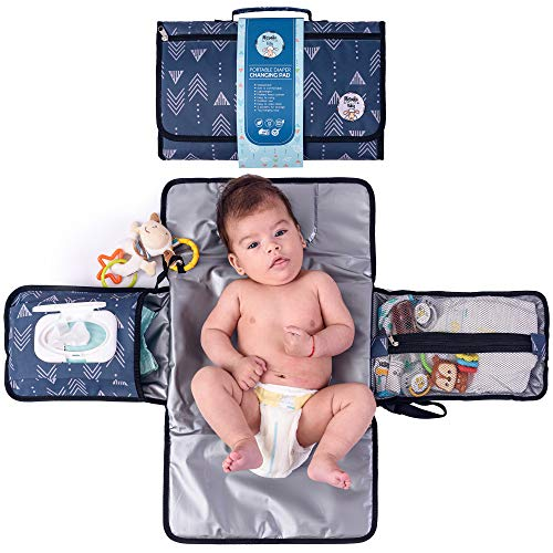 Portable Diaper Changing Pad by Meraki Baby   Waterproof Station Mat Ideal Travel Kit   Easy to Clean   Large Storage Pockets for Wipes Creams Essentials   Built-in Cushion Pillow   Toy Loop  BPA Free