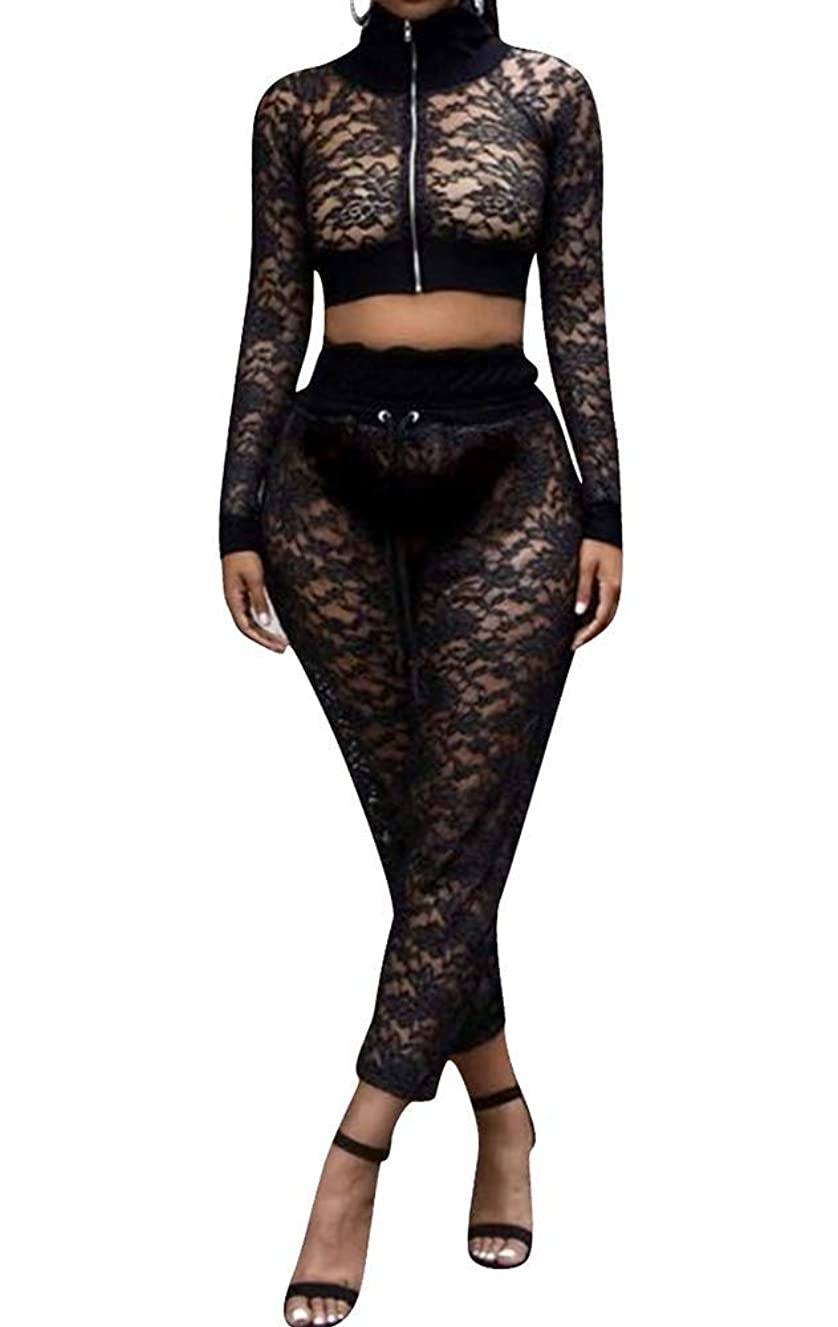 OLUOLIN Women Lace 2 Piece Outfits Sheer Mesh See Through Hollow Out Zipper Jacket Crop Top Long Pants Jumpsuit Set