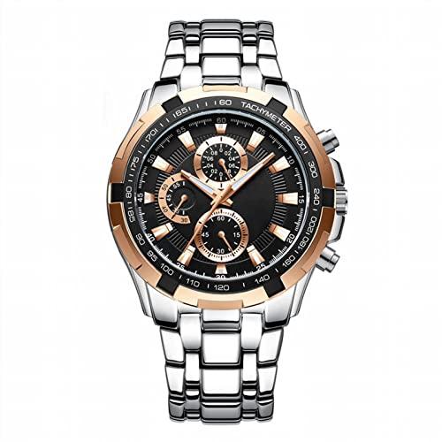 SDERTY Reloj De Cuarzo Reloj De Acero De Precisión con Tres Ojos Y Seis Manecillas Reloj De Moda Reloj Deportivo Impermeable para Hombre Correa De Acero Inoxidable para per