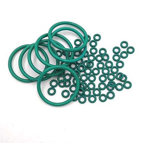 Pangocho Jinchao-Arandela de Sellado de Junta tórica Verde FKM O Anillos Aceite Resistente al Aceite y Junta de Sellado Resistente al kasket de alcalino FPM O-Ring, OD4MM ~ 85mm * 1.5mm, Caucho