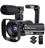 Camcorder, 2.7K Video Camera 36MP UHD IR Night Vision Digital Camcorder 16X Digital Zoom 3 inch IPS Touch Screen Video Camcorder with Microphone, Lens Hood and Camera Holder