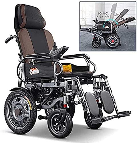 Silla de ruedas eléctrica con reposacabezas, silla de ruedas eléctrica plegable y liviana, ancho de asiento 46Cm, respaldo ajustable y ángulo de pedal, joystick de 360 °, capacidad de peso 120KG