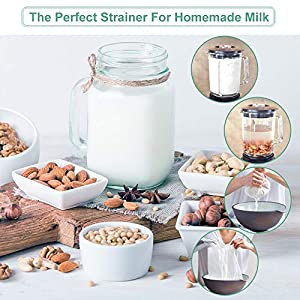 Bellamei Nut Milk Bag Reusable 200 Micron Nut Bags for Almond Milk Greek Yogurt Strainer Professional for Cold Brew… |