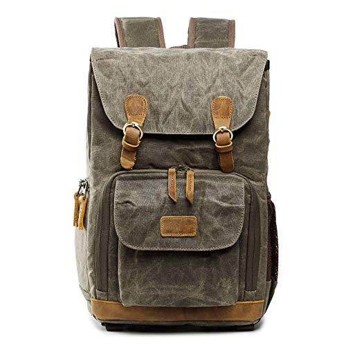 GAL Hiking Backpacks Backpack Photo Bag, Waterproof Canvas, Men's And Women's Backpack, Military Green SLR Digital Backpack Camera Bag
