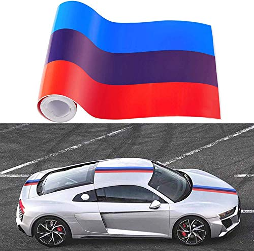 N\A All-Pie 2M Auto Streifen M-Colored Flagge Aufkleber Motorhaube Deko Strip Folie Sticker