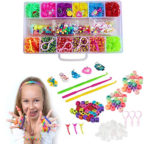 Satisfounder Loom Bands Bracelet Making Kit for Girls and Boys,8 in 1 DIY Kit Includes:2000+ Rubber Bands,200 Beads,200 S-Clips,30 Charms,6 Crochet Hooks,3 Buckles,3 Hairpins,2 Y Loom