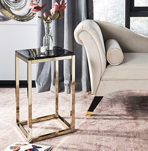 Safavieh Home Leah Glam Black Marble and Brass Square Side Table