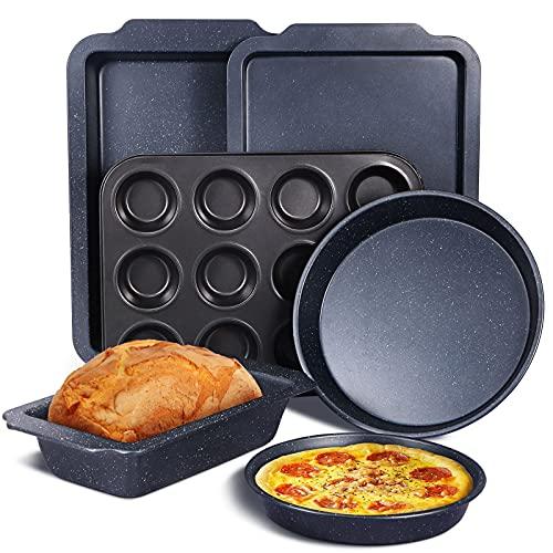 """Set de 6 Bandeja Horno[1fuente horno,1recipientes horno,1Molde para Pan,1Moldes para Magdalenas de 12 cavidades y 2Bandeja para pizza(8""""/ 10"""")] moldes de repostería molde horno Rustidera de Ho"""