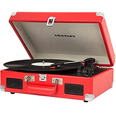 Crosley CR8005C-RE Cruiser II Portable Battery Powered 3-Speed Turntable, Red