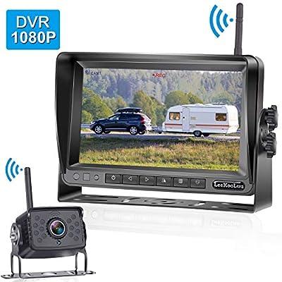 "LeeKooLuu 1080P Digital Wireless Backup Camera 7"" High-Speed Observation DVR System for RVs,Travels,Trailers,Trucks,Full/Split Screen,IP69K Waterproof Camera Super Night Vision Guild Lines ON/Off"