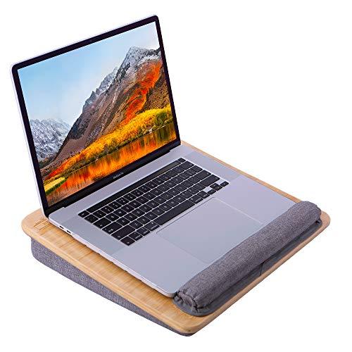 BMH Natürlicher Bambus Laptopunterlage mit Handgelenkauflage & Aufbewahrungstasche,für Bett Sofas & Schreibtische für max. 16.4 Zoll Notebook, inkl. Tablet- und Telefonhalter.