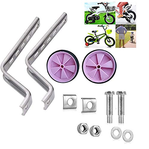Pusheng Bike Stabilisers Bicycle Stabilisers For Kids Cycle Children 12-20' Inch Training Wheels UK Red, (Pink)