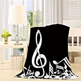 Lightweight Fleece Blankets Reversible Throw Cozy Plush Microfiber All-Season Blanket for Bed/Couch - Throw 40x50 Inch, Music Notes Black and White