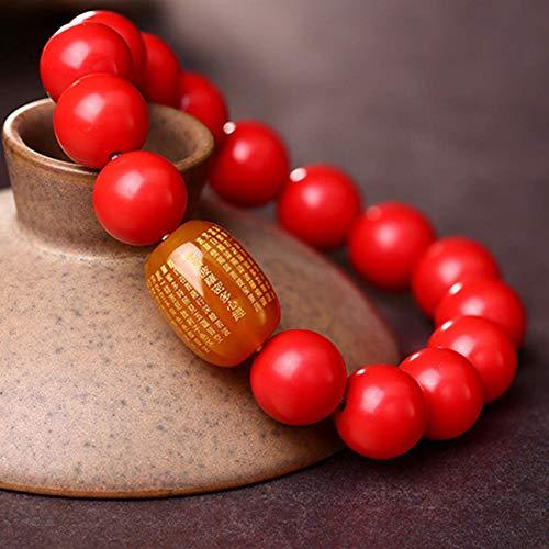 JIACUO Fashion Gift,Feng Shui Wealth Gemstone Bracelet Natural Cinnabar Red Agate Heart Sutra Bracelet Stretchy Bracelet Amulet Attracts Money Luck Ward Off Evil Spirits,12MM