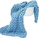 All Season Cozy Chunky Knit Blanket Merino Wool Hand Made Super Soft Throw Boho Bedroom Home Decor Giant Yarn,Moonlight Blue,40'x80'